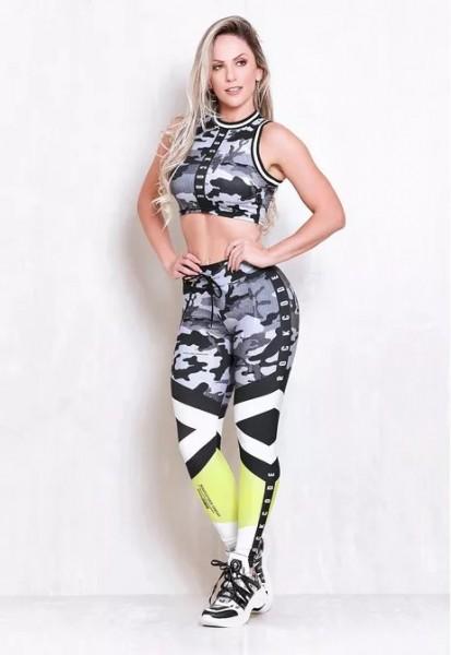 Set Fitness Leggings Rock Code Reload + Top Infinite