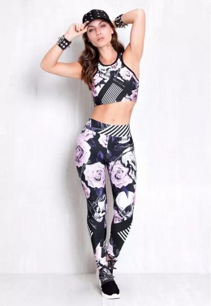 Set Fitness Leggings Rock Code Roses + Top Line