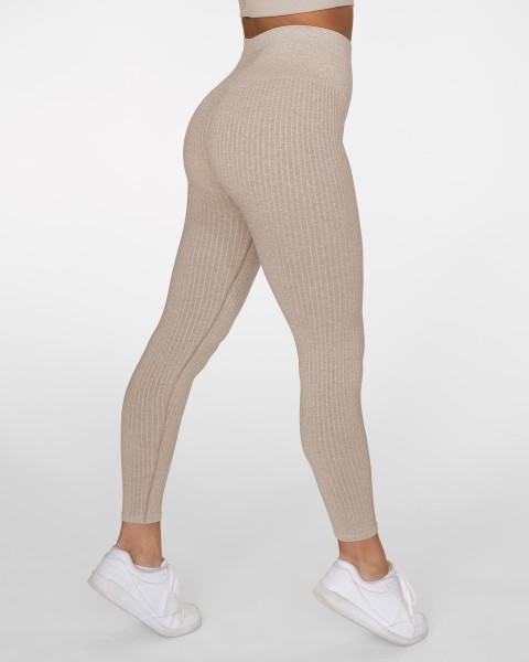 Seamless Sport Leggings Ribbed Sand GAVELO