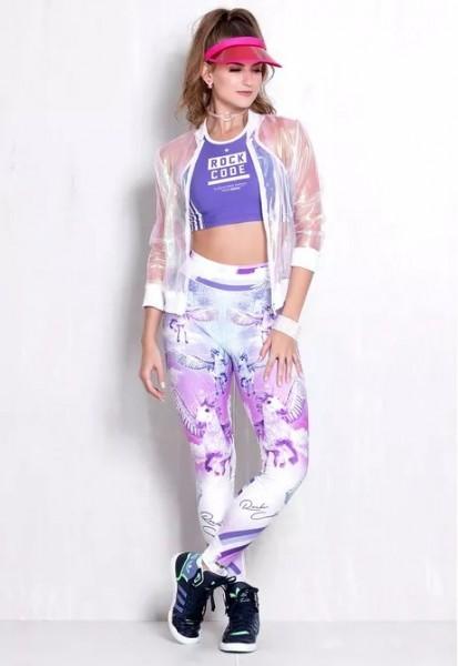 Set Fitness Leggings Rock Code Unicorn + Top Single