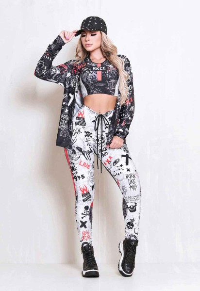 Set Fitness Leggings Rock Code Lose Control + Top Afterlife