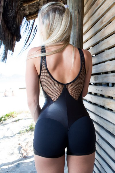 Fitness Jumpsuit Short Apple Booty Preto Dynamite